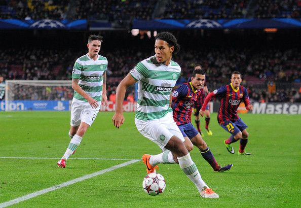 Virgil van Dijk of Celtic FC in action during the UEFA Champions League, Group H match between FC Barcelona and Celtic FC at the Camp Nou Stadium on December 11, 2013 in Barcelona, Catalonia.