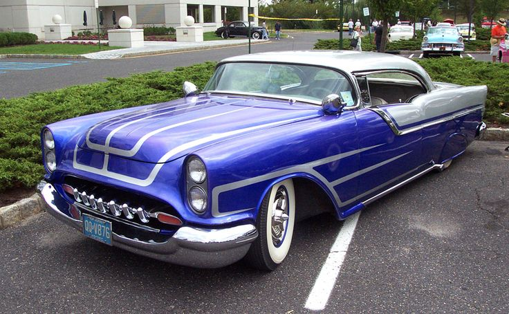 1955 Oldsmobile Hardtop Blue/Grey Chopped: Classic Cars, Muscle Cars, Custom Cars, 1955 Oldsmobile, Hot Rods, Leadsleds, Hotrods