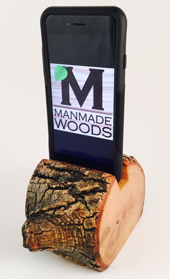 Wood with bark intact cell phone holder https://www.etsy.com/listing/232697010/natural-wood-cell-phone-holder-charging