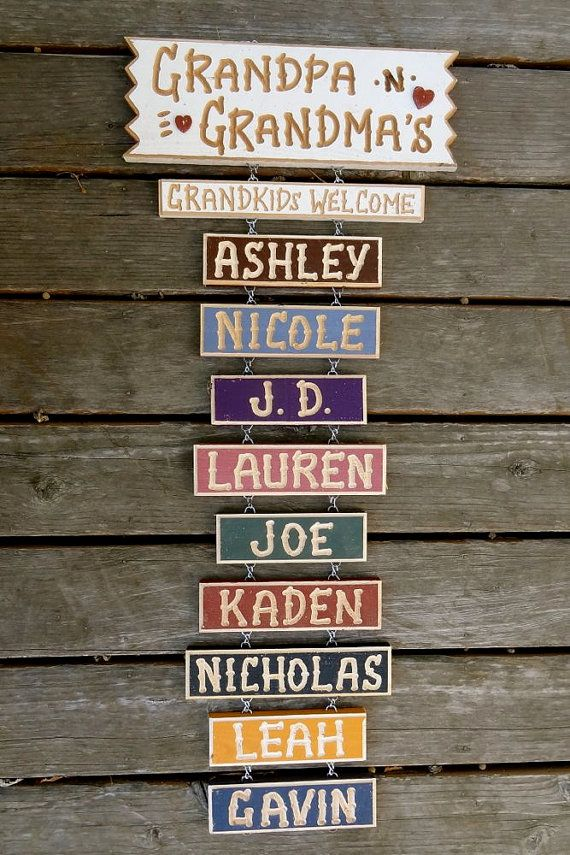 Grandpa and Grandma's carved personalized wood sign with Grandchildren (24 for base sign) (8 for Gr/kids welcome)(5 for each add-on name) on Etsy, $24.00