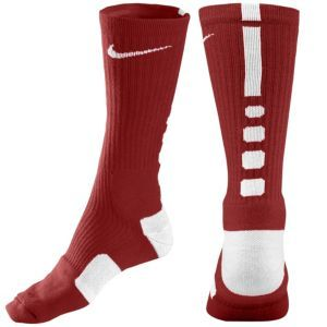 Nike Elite Basketball Crew Sock - Men's - Basketball - Accessories - Team Maroon/White