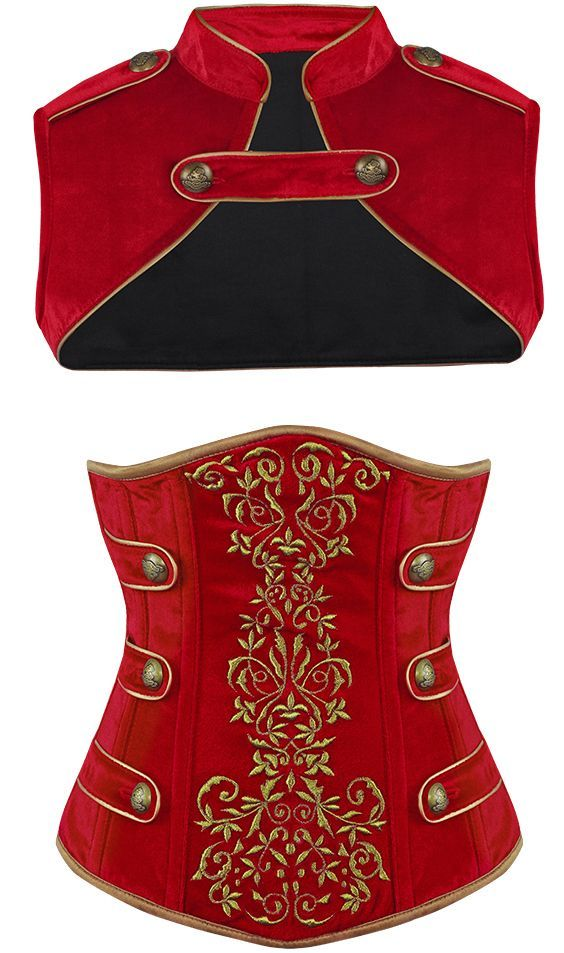 Military inspired corset and bolero - inspiration for cosplay costumes, halloween, theatrical, or dance outfits.. Buy the supplies to make this: http://mjtrends.com/pins.php?name=military-inspired-corset-and-bolero