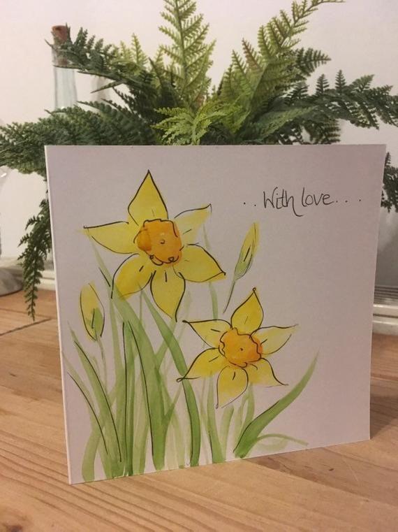 Daffodil Birthday Card Hand Painted Daffodils