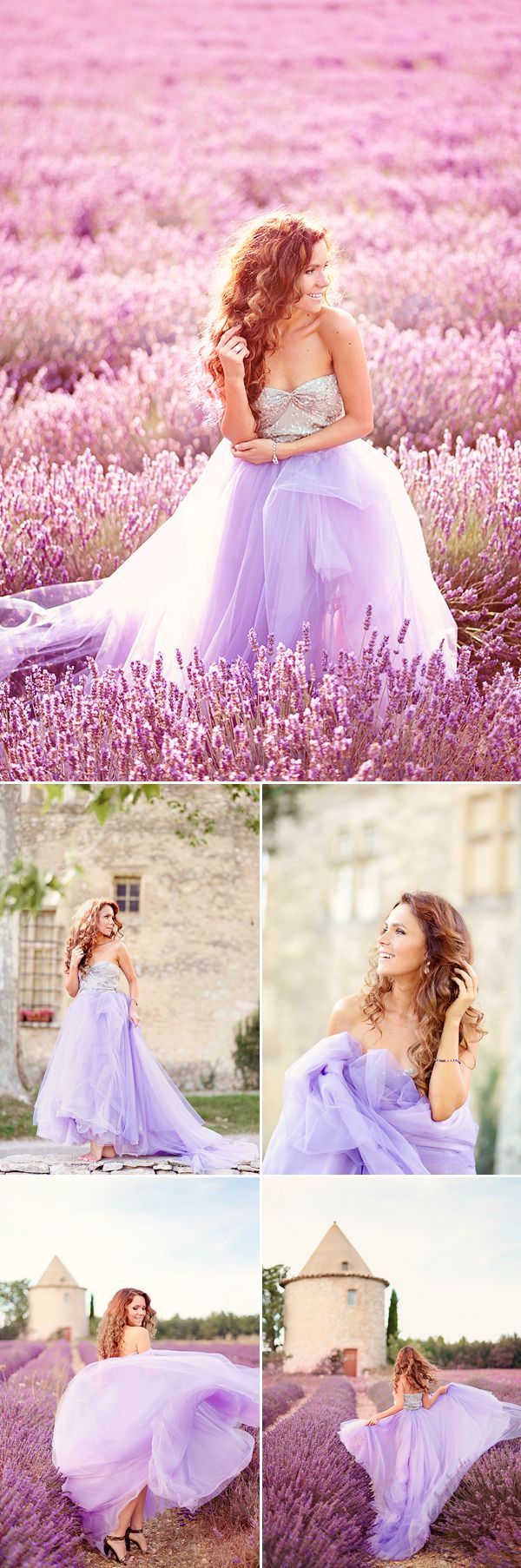 Romantic Provence Lavender Field Photo Session - Praise Wedding