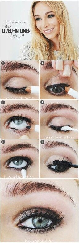 Apply eye pencil above the eyelashes line and below it by pulling gently the eye lid with your fingers.Apply also at the top line of the bottom row of lashes.Take a cotton bud and firmly take pencil from the upper lashes and apply the same materila under the bottom eyelashes.Apply mascara and you are done!