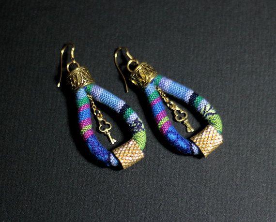 Brazilian Style Earrings, Bohemian Hippie Earrings, Ethnic Earrings, Ethnic Ibiza Earrings, Boho Chic Look, Tribal Dangle Earrings