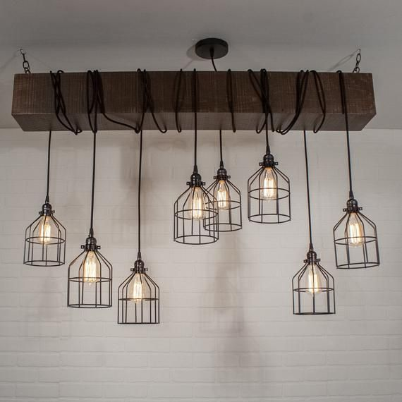 Wood Beam Ceiling Chandelier With Cages Rustic Lighting Fixture With 8 Edison Bulb Pendant Lights Modern Farmhouse Lighting Rustic Light Fixtures Wood Beam Ceiling Rustic Pendant Lighting