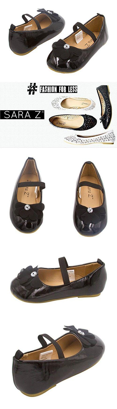 Sara Z Toddler Ballet Flat Patent Slip On Adorned with Chiffon Flower with Rhinestone, Black Size 11-12