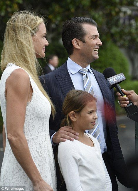 The president's son Eric and his pregnant wife Lara (left) brought their dogs. Donald Trump Jr. and his wife Vanessa were there with their five children (right)