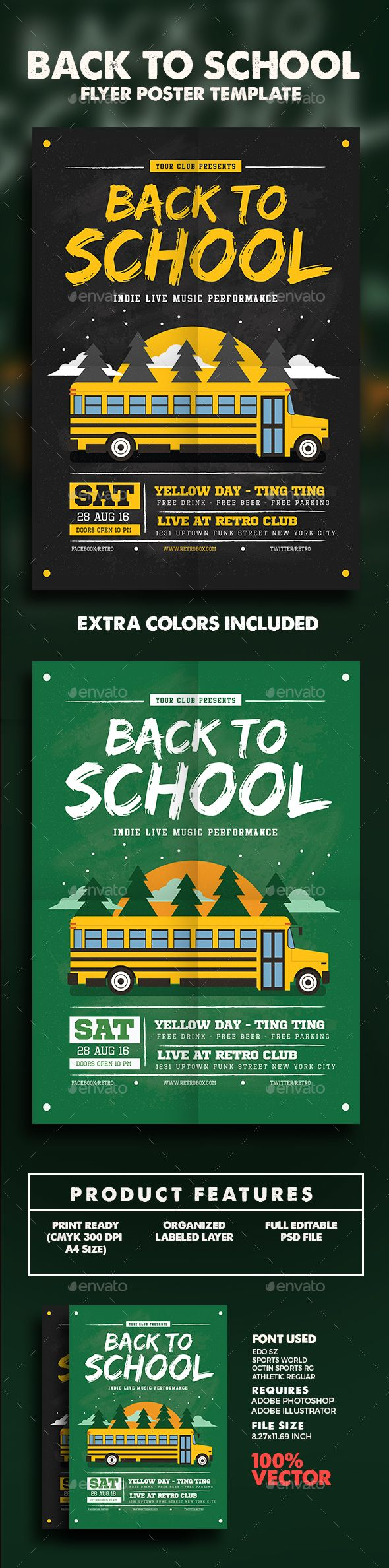 Back To School Flyer/Poster - Clubs & Parties Events