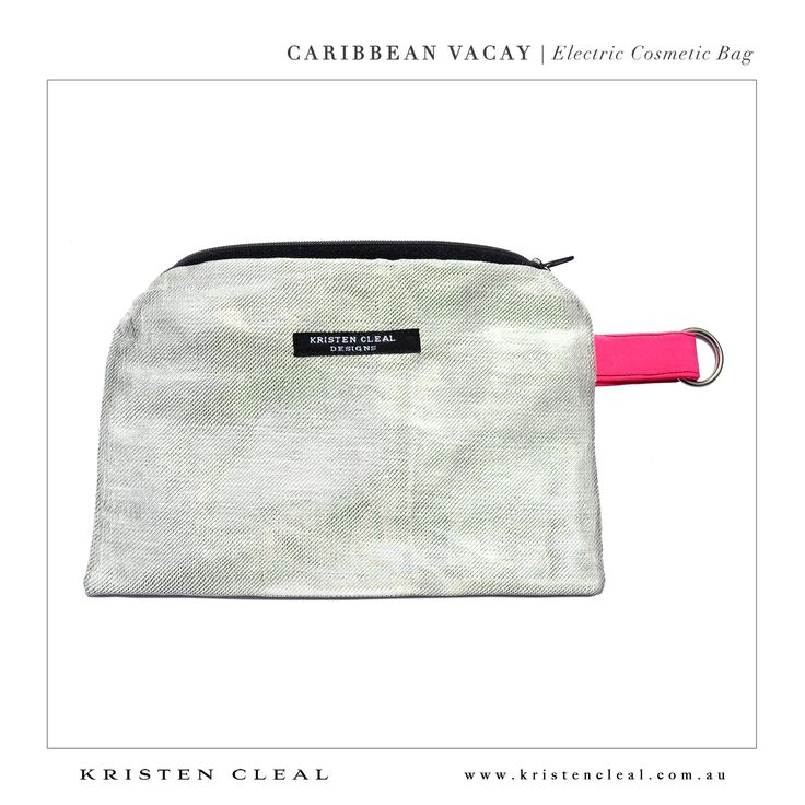 Electric Cosmetic Bag by Kristen Cleal Designs  Caribbean Vacay 2014 Collection