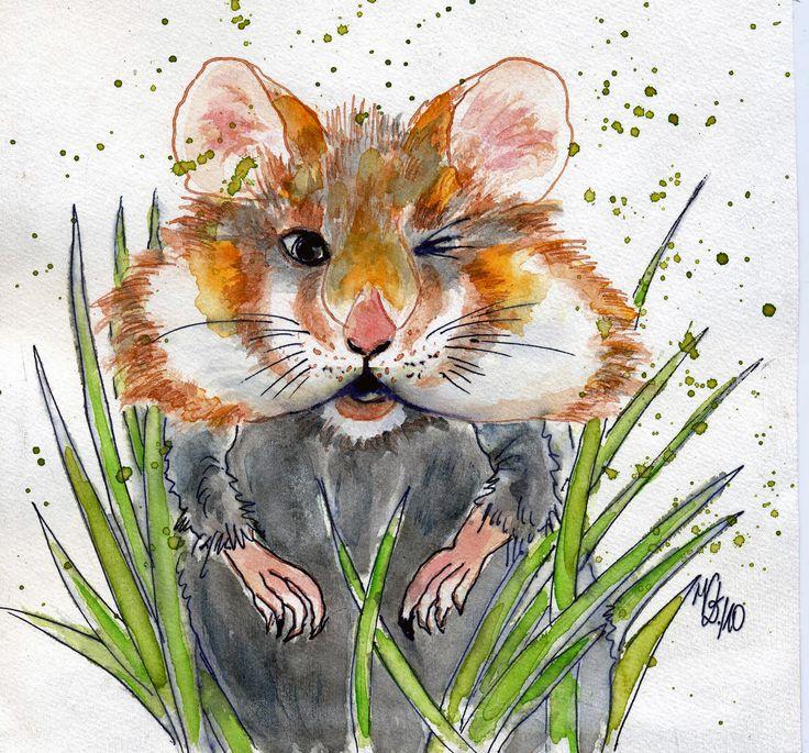 Mein Hamster, Tusche, eigene Malerei