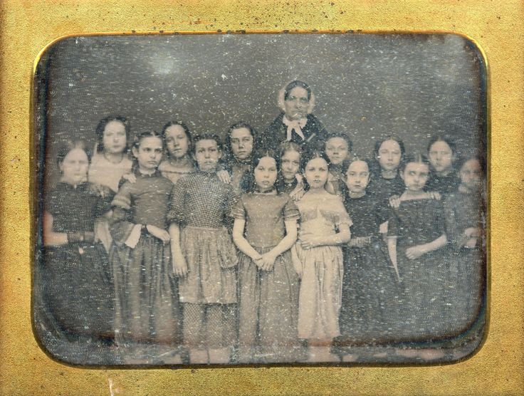 (c. 1850s) Schoolgirls and their teacher -  Detroit, Michigan