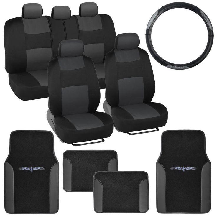 Nice Amazing Car Seat Covers Set Black Charcoal W PU Leather Floor Mats