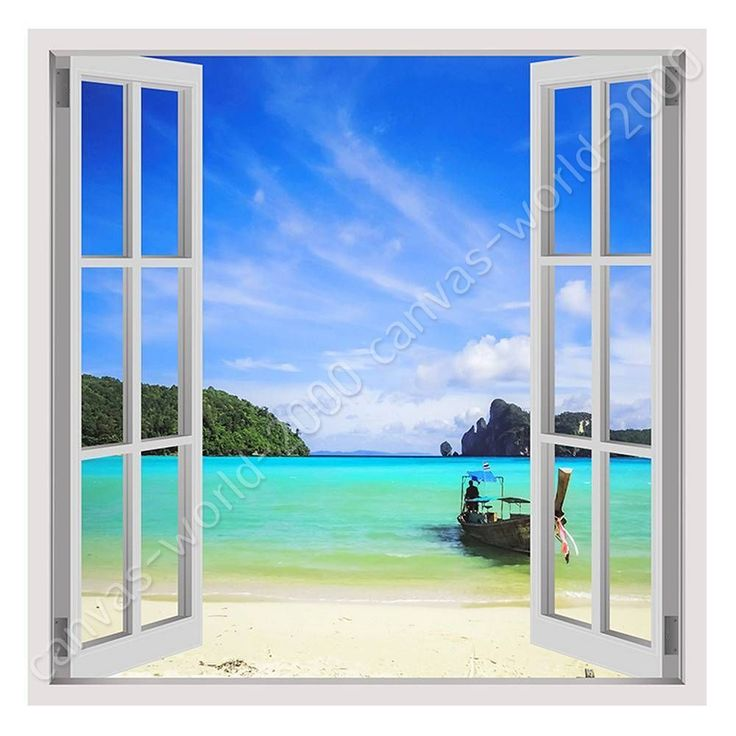 Aruba Beach View Window 3D Wall Decal Art Mural Home Decor Canvas Vinyl W180