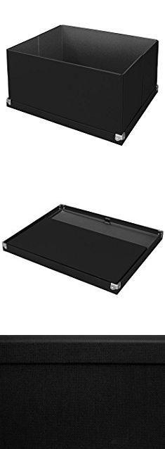 "Collapsible Storage Box. Pop n' Store Decorative Storage Box with Lid - Collapsible and Stackable - Large Mega Box - Black - Interior Size (14.625""x11.875""x8"").  #collapsible #storage #box #collapsiblestorage #storagebox"