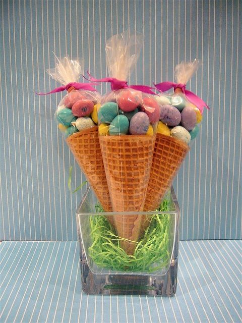 Bunny's eggs! Very easy just molten eggs or the bubble gum shaped eggs and a waffle conte or a sugar cone!