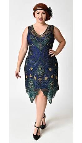 6acbb77b137 1920s Style Plus Size Navy Blue   Green Beaded Emma Flapper Dress ...