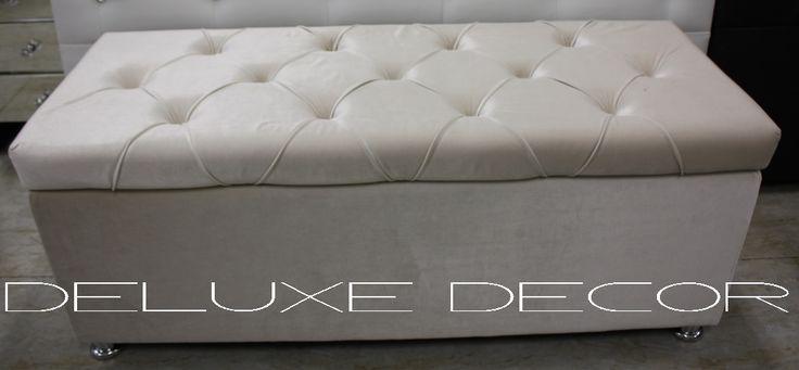 Harper Elegant BEIGE Velvet Tufted Upholstered Storage Ottoman Seat http://deluxedecor.com.au/products-page/harper-collection/harper-elegant-beige-velvet-tufted-upholstered-storage-ottoman-seat/