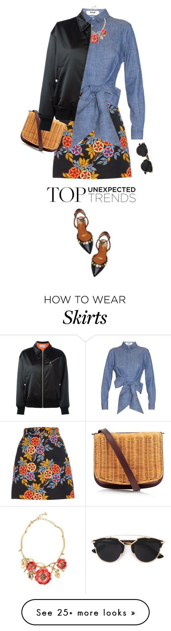 """T By Alexander Wang Classic Bomber Jacket"" by mychanel on Polyvore featuring MSGM, Aquazzura, Rachel Comey, Oscar de la Renta, Christian Dior and T By Alexander Wang"