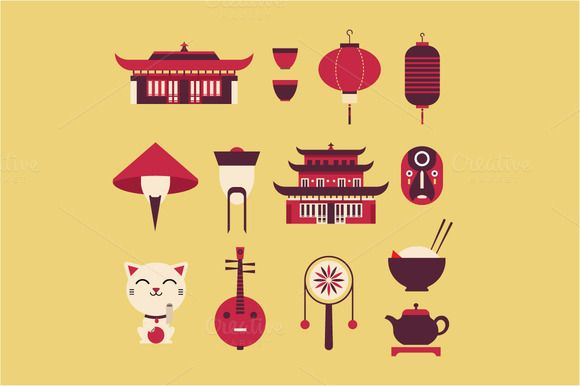 Check out Vector china icons by vectorprro on Creative Market
