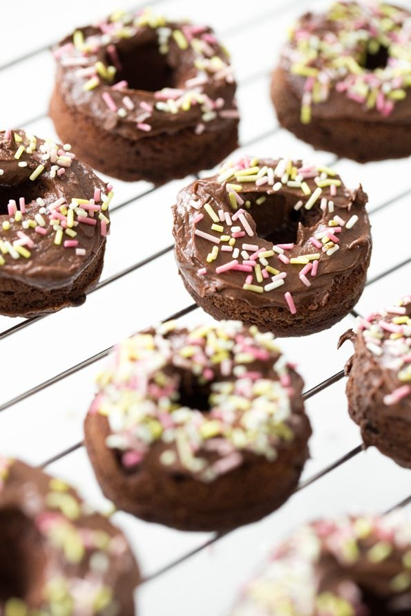 Triple Chocolate Vegan + GF Doughnuts from Baked Doughnuts for Everyone