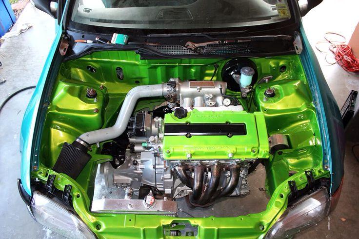Not A Fan Of Hondas But That Green Engine Bay Car