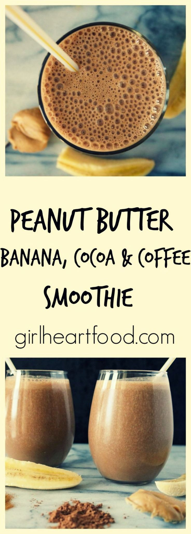 This Peanut Butter, Banana, Cocoa and Coffee Smoothie is out of this world! There's absolutely no refined sugar and yet it is still deliciously sweet-like. It's rich in flavour from cocoa & espresso powders and you'll think that you're drinking something way more indulgent than it actually is. So good! #smoothie #batido #peanutButter #mantequillacacahuete #Cocoa #cacao #Coffee #café #banana #platano via @Girlheartfood