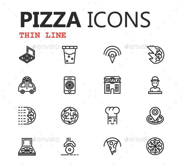Outline Pizza Icons