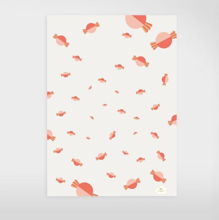 """Geschenkpapier """"Bonbon"""" via Edith schmuckes Papier. Click on the image to see more!"""