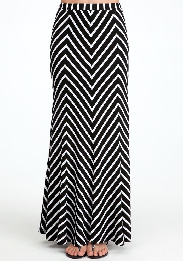 Zigzag Maxi Skirt - Black/White - Xxs