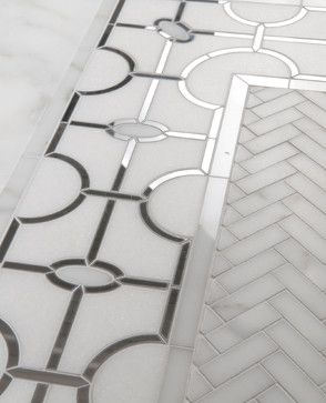 Natural Stone Mosaics & Waterjet Patterns. Or try gold accent tile like the powder room in the St. Regis!