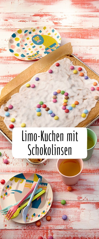 Blechkuchen Fur Den Kindergeburtstag Limo Kuchen Mit Schokolinsen
