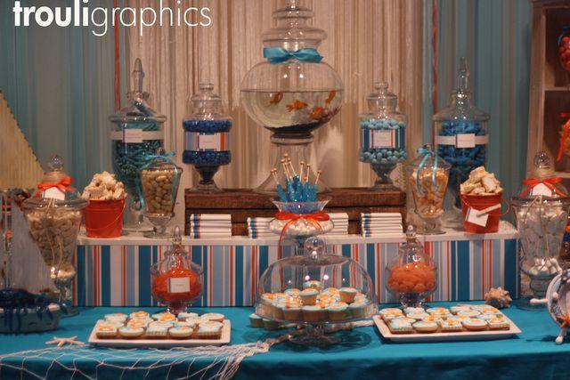 Nautical Candy Buffet #nautical #candybuffet