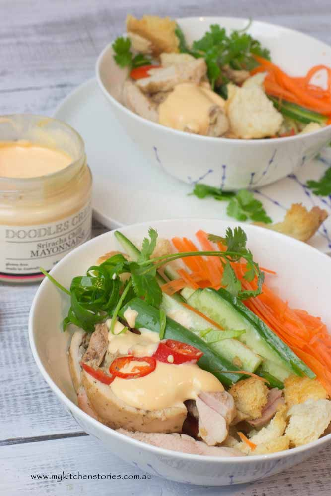 Banh Mi Salad Bowl with Doodles Creek Sriracha Mayonnaise