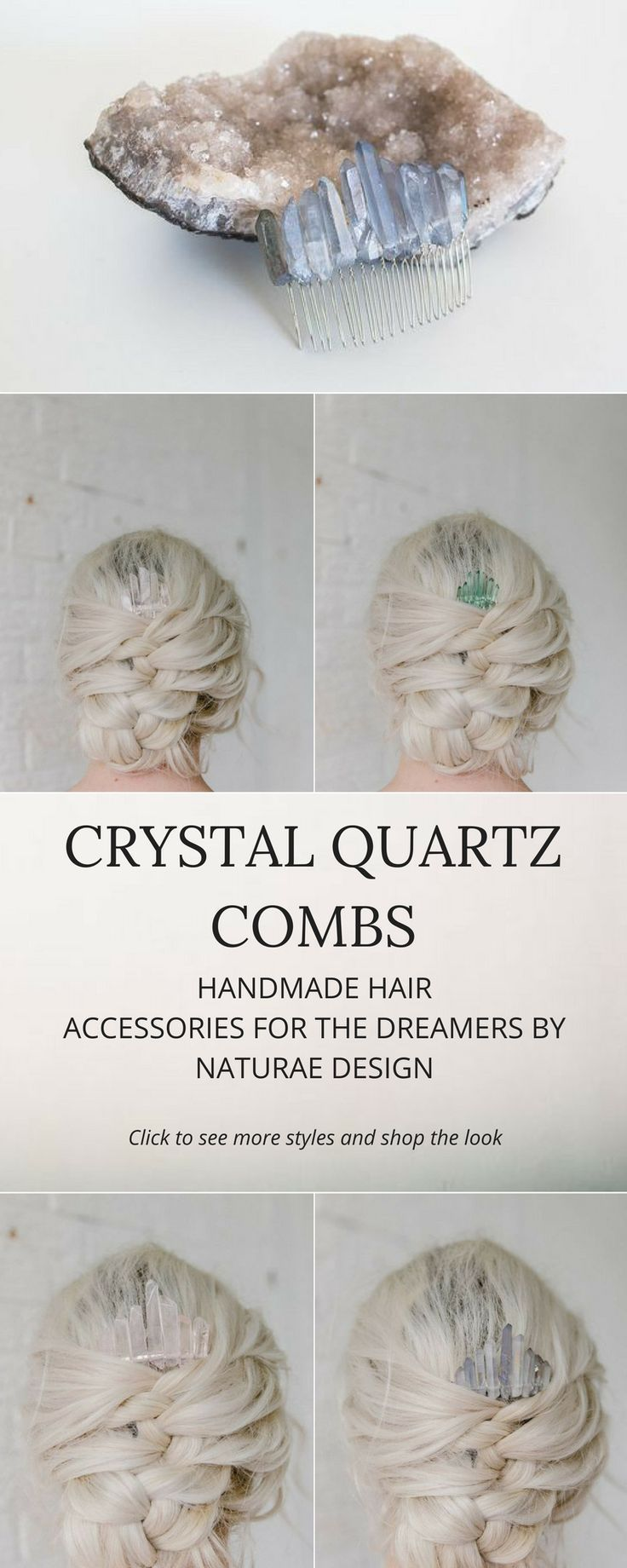 Crystal combs are a finishing touch for you modern Celestial inspired updo. Handmade in the studio with Quartz stones. Available in different shapes and colors. Shop the look at: https://naturae-design.com/WEBSHOP.html#!/combs/sort/age-ascending
