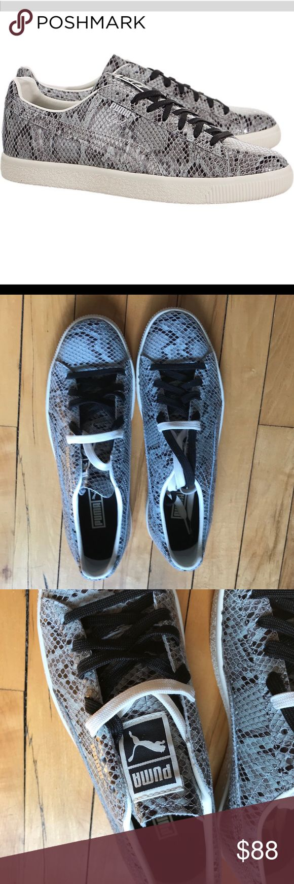 Men's Puma NWB Clyde Snakeskin Leather Sneaker New in box. I am missing the  lid for the box though. Lowtop sneaker. They have a few scuffs from being  tried ...