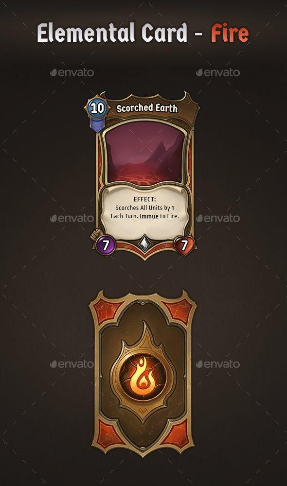 Elemental Card Fire Game Card Design Card Design Cards