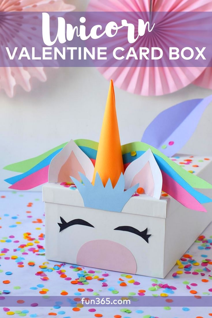 create this diy unicorn card box for valentine's day this year. this