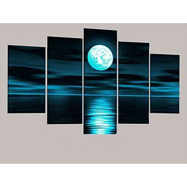 handbemalte abstrakten grauen Block seascape Mond Ölgemälde auf Segeltuch 5pcs / ohne Rahmen gesetzt – EUR € 38.37