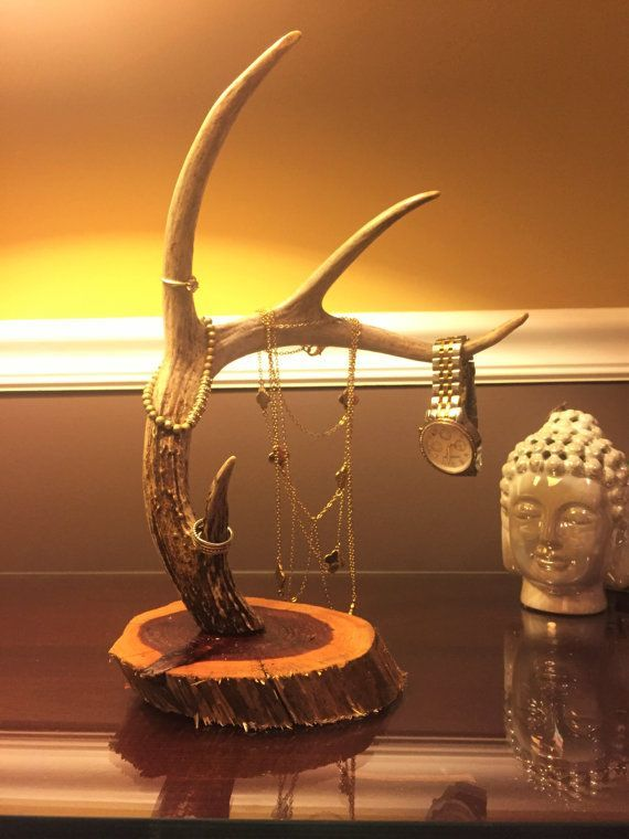 deer antler jewelry holder by therustichome901 on Etsy                                                                                                                                                                                 More - free mens jewelry, gold mens jewelry, jewelry mens rings