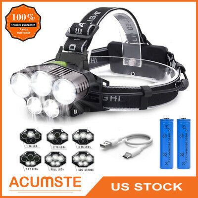 Super-bright 80000LM LED Headlamp 5X T6 Headlight Torch Rechargeable Flashlight