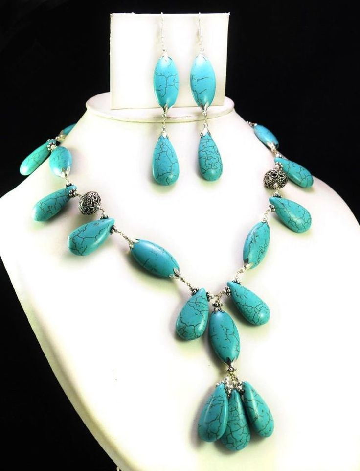 494ct Natural Semi Precious Blue Turquoise Designer Beads Necklace with Earrings #Handmade #Choker
