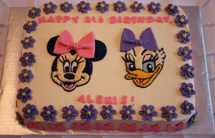 Minnie Mouse and Daisy Duck birthday cake with Cricut Cake letters