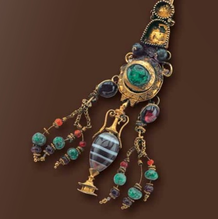 Ear pendant  includes emeralds, agate, garnet, amethyst . late Hellenistic 3rd-2nd century B.C.