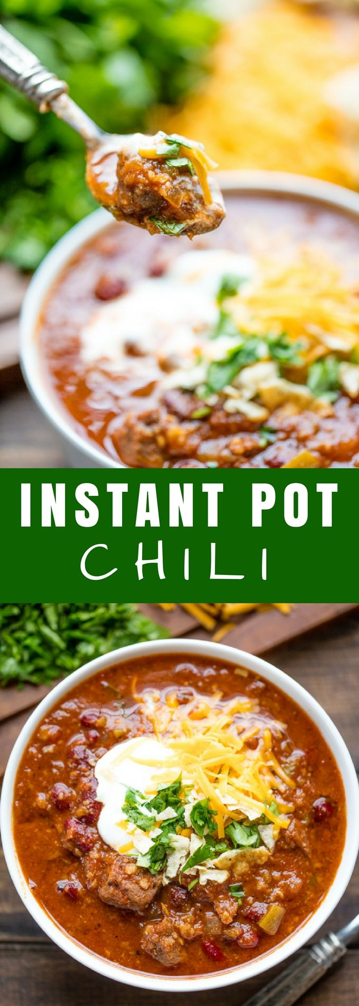 This Instant Pot Chili recipe is full of meaty goodness in this easy to make recipe that utilizes the hottest kitchen appliance trend: the electric pressure cooker. #instantpot #chili