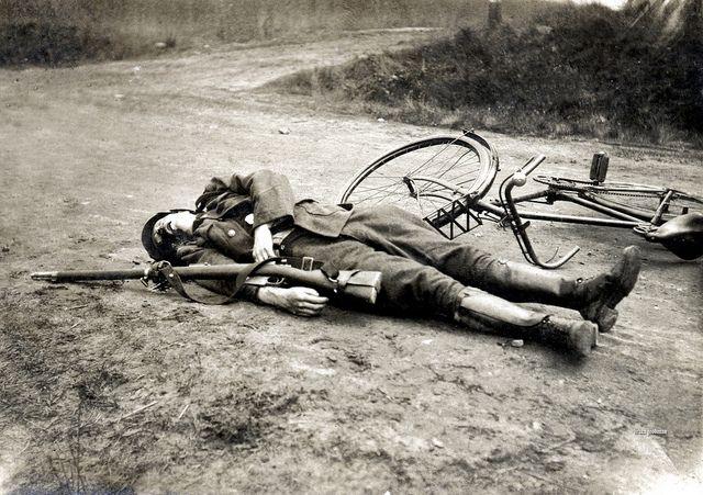 Dead Belgian soldier. WWI.