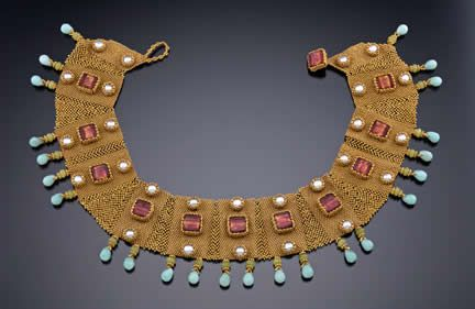 Byzantine Collar  Inspired by the ancient Byzantine collars and gold work. Broad collars were very popular in the Byzantine Era.    Using peyote and right angle weave, you will create components incorporating Venetian gold foil beads, freshwater pearls and semi-precious stones (some of which are bezeled with seed beads).