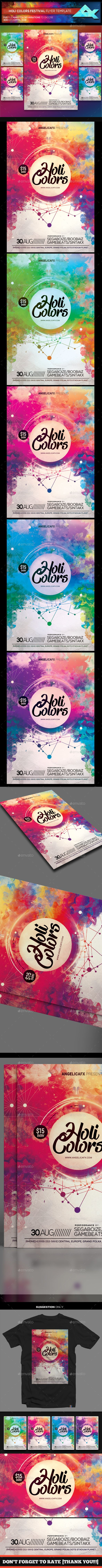 Holi Colors Music Festival Flyer Template #abstract #dubstep  • Download here → https://graphicriver.net/item/holi-colors-music-festival-flyer-template/21042845?ref=pxcr