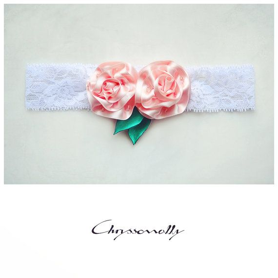 CCC009 - Chryssomally baby girl white lace headband with handmade pastel pink satin roses, crystals and emerald green leaves